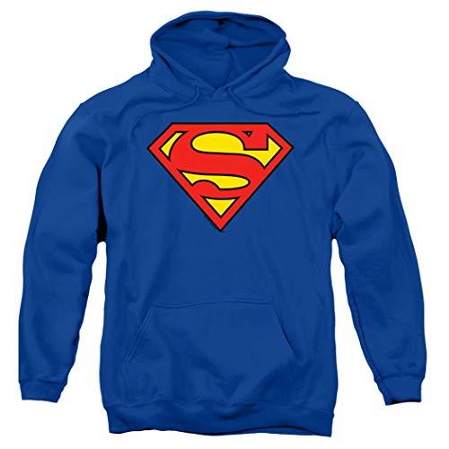 Superman Classic Logo Pull-Over Hoodie Sweatshirt & Stickers (Small)
