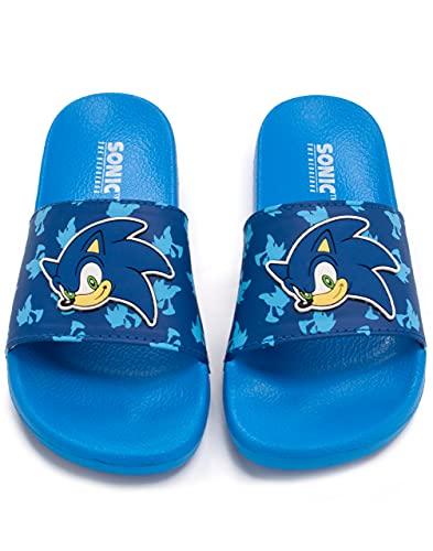 Sonic The Igel Sliders Jungen Kinder Blau Sandalen Strandschuhe Flip Flops 29