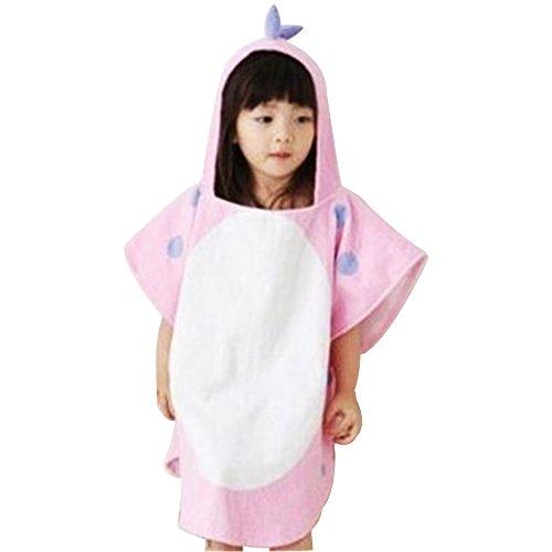 OAMORE Baby Handtuch Breathable Warm Kinder Strandponcho Polygonal Dinosaurier Kapuzenhandtuch Badetücher (Pink)