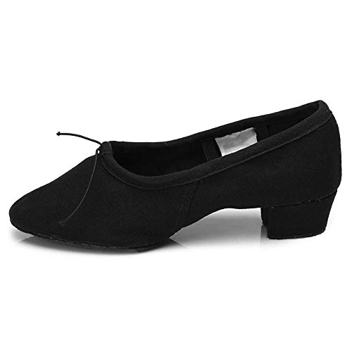 HIPPOSEUS Zapatos de Baile para Mujer con Dedos Cerrados Zapatos de práctica de Entrenamiento para Maestros de Baile Tacón bajo,ESQ101,Negro Color,EU 38