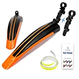 """ioutdoor Bike Mudguard Set with 27ft DIY Reflective Tape,Bike Fenders Set Adjustable,Bicycle Front and Rear Mud Guard Fits for 20"""",22"""",24"""",26"""" MTB Mountain Road Bike Cycling (Black+Orange)"""