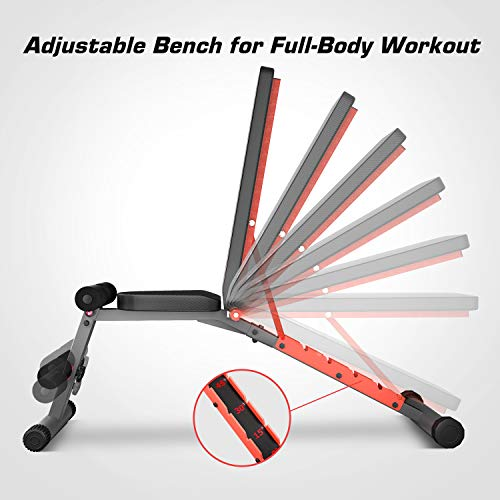 Pelpo Weight Bench for Full Body Workout, Adjustable Workout Bench Press for Home Gym Strength Training, Incline Decline Utility Weight Bench with 6 Positions, Gray Frame