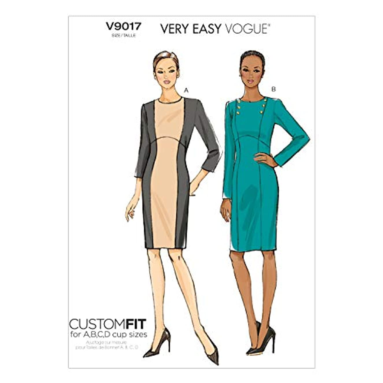 Vogue Patterns V9017 Misses' Dress Sewing Template, Size A5 (6-8-10-12-14)