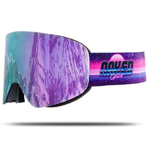 NAKED Optics Skibrille Snowboard Brille für Damen und Herren - Verspiegelt mit Magnet-Wechselsystem – Ski Goggles for Men and Women (Flashback, inkl. Schlechtwetterglas)