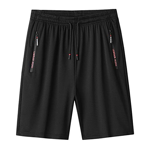 MJNONG Mens Shorts Casual Drawstring Elastic Waist Short with Zipper PocketsBreathable Workout Shorts 42 Black