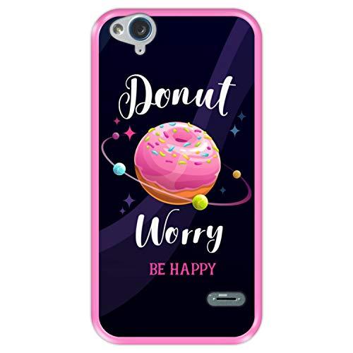 Funda Rosa para [ ZTE Blade S6 Flex ] diseño [ Buñuelo Divertido - Donut Worry, be Happy ] Carcasa Silicona Flexible TPU