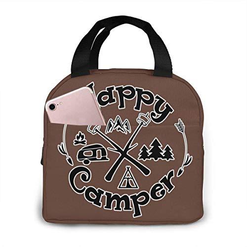 Gelukkig Camper Camping Grappig Geïsoleerde Lunch Tassen voor Vrouwen & Mannen Lunch Draagbare Doos voor Lunch Koeler Tote voor Werk School Reizen
