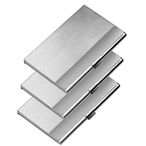 Business Card Case, 3 Pack Stainless Steel Business Card Holder, 3.7x2.3x0.3 Inch