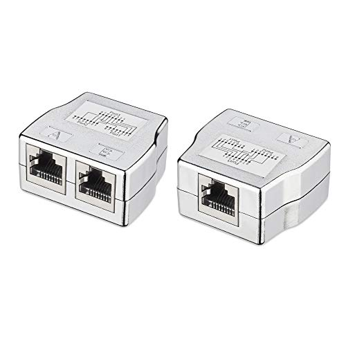 kwmobile 2X Divisor de Cable de Red - Distribuidor Doble de conexión LAN 2 a 1 - Adaptador de Enchufe RJ45 CAT5 Ethernet CAT6 LAN - Hembra a Hembra