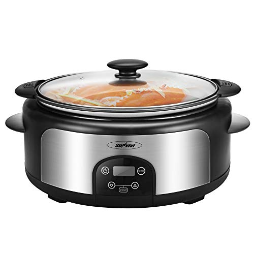 6-Quart Crock Pot & Digital Programmable Slow Cooker with Locking Lid, Nonstick Oval Pot Delay Timer, 3 Temperature, 8 Pre-Set Functions, Programmable to cook for up to 12 hours,Retractable Power Cord, Stainless Steel, Black