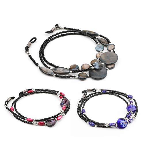 Hifot 3pcs Cadenas de Gafas de Abalorios, Ajustable Cordón de Retenedor de Gafas de Sol, Antideslizante Cuerda de Gafas de Lectura Cuello Correa para Mujer