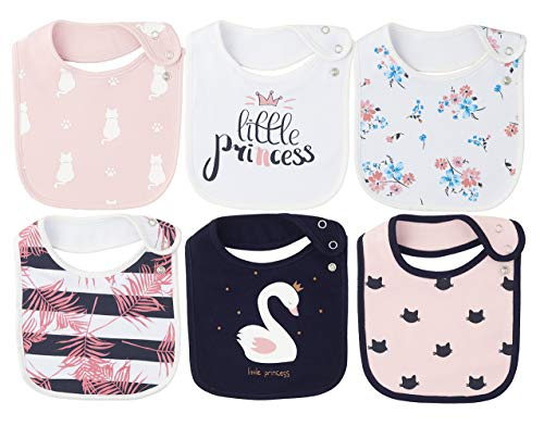 6 Pack Waterproof Cotton Baby Bibs for Girls for Drooling Eating Teething with Snaps
