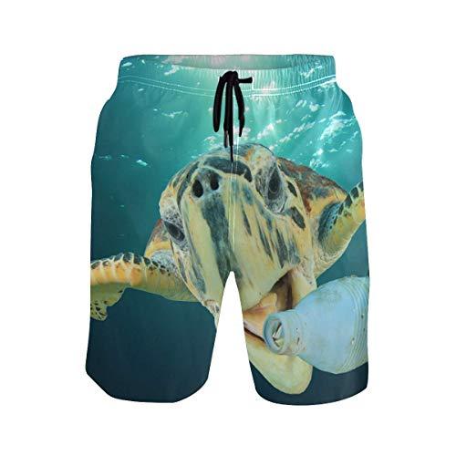 top1998 Unterwasser Schildkröte lustige Badehose für Männer Boy Quick Dry Beach Shorts mit Taschen