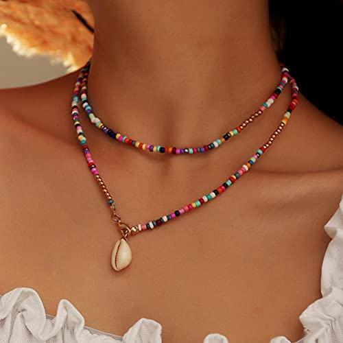 Facaimao Collar de cuentas bohemio, collar de cadena de cuentas con colgante de concha, collar de disfraz para mujeres y niñas