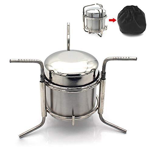 Lixada Réchaud à Alcool de Camping Portable Alcool en Acier Inoxydable Cuisinière en Plein Air Pliant Mini Spirit Cooker Pique-Nique BBQ Cookout Poêle