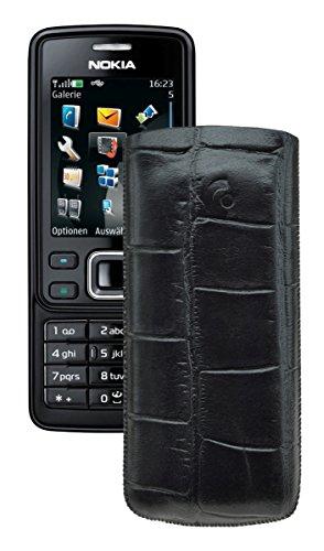 Suncase® Tasche für / Nokia 6300 - 6300i / Leder Etui Handytasche Ledertasche Schutzhülle Hülle Hülle *Lasche mit Rückzugfunktion* in croco-schwarz