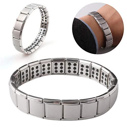 Pulsera magnética de titanio para hombres y mujeres, para aliviar el dolor de artritis, sin decoloración (acero inoxidable)