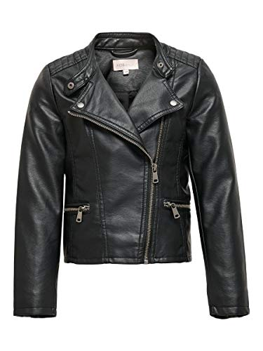 Only KONFREYA Faux Leather Biker Otw Noos Giacca in Ecopelle, Nero, 122 Bambina