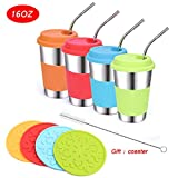 Stainless Steel Kids Cups with Lids and Straws,4 Pack 16oz Metal Kids Straw