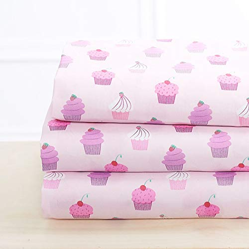 Elegant Home Multicolors Pink Purple Cupcakes Design 4 Piece Printed Sheet Set with Pillowcases Flat Fitted Sheet for Girls/Kids/Teens # Cupcake (Full Size)