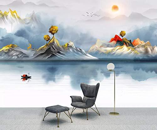 Carta da Parati Fotografica 3D Lago di montagna astratta Fotomurale Moderna Non Tessuto Fotomurali Decorazione dell'ufficio della Camera da letto del Salone,Tela HD 400x280CM