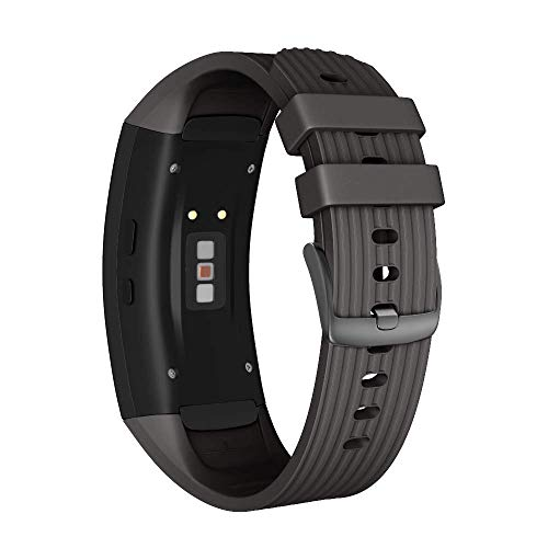 ANBEST Kompatibel mit Samsung Gear Fit 2/Gear Fit 2 Pro Armband, Silikon Sport Zubehör Uhrenarmband für Samsung Gear Fit 2 SM-R360/Fit 2 Pro SM-R365(Schwarz,L)