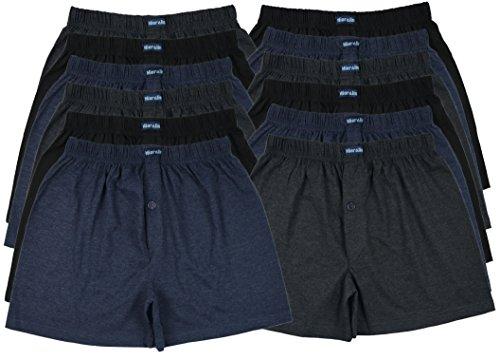 MioRalini TOPANGEBOT Boxershorts farbig weich & locker in neutralen Farben klassischen Unifarben Herren Boxershort, 12 Stück, L-6
