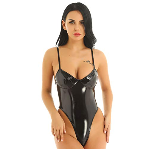 Freebily Wetlook Body Donna Sexy Pelle Babydoll Lingerie Sexy Hot per Sesso Scollo V Profondo Schiena Scoperta Top Latex Sexy Abbigliamento Donna Tuta Nero Medium