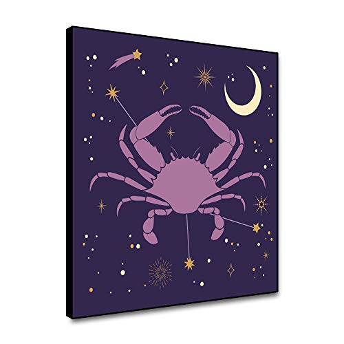 Leowefowa 12x12inch Framed Canvas Wall Art Cancer Zodiac Picture Canvas Painting Constellation Wall Poster Cancer Sign Art Ptints Artwork Contemporary Home Decoration For Living Room Bedroom