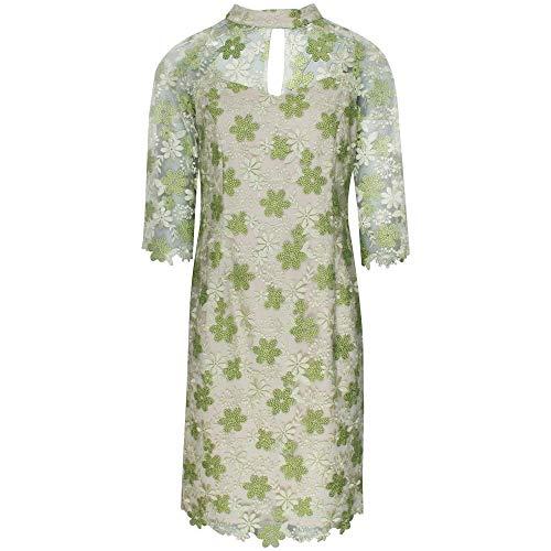 Michaela Louisa Cut Out Collar Lace Overlay Dress 14 Green
