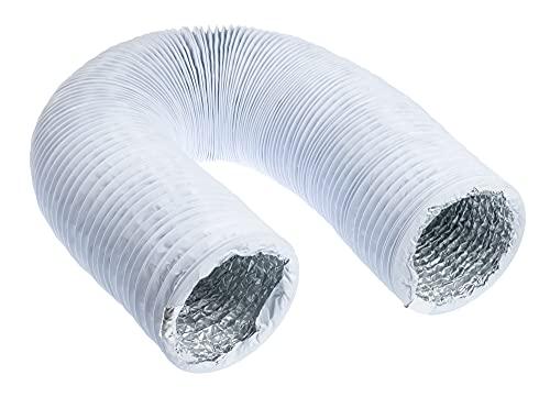 Tubo flexible de salida de aire de 125 mm de diámetro, 3 m de longitud, con aislamiento de aluminio, para secadora, aire acondicionado, campana extractora, tubo flexible de aluminio/PVC