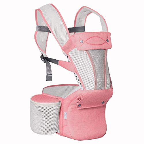 YUMEIGE Baby Carriers Baby Slings, Dik Ademend materiaal, Zachte Baby Carriers Brede Riem Klittenband, Sling Baby Carrier, Verstelbare Taille Kruk Blauw, Roze, Wit roze
