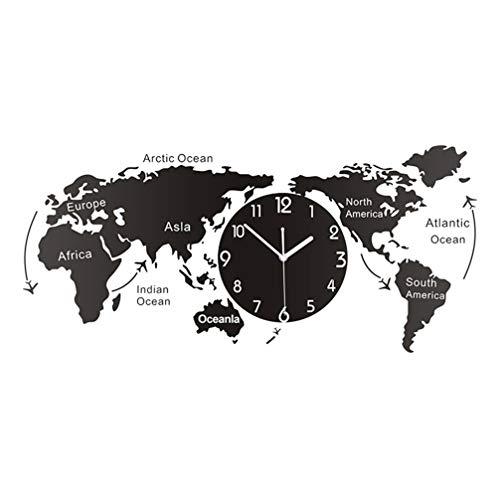 LIOOBO Mapa del Mundo Reloj de Pared Reloj Colgante Decorati