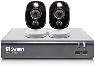 Swann Home Security Camera System, 4 Channel 2 Cameras, Wired CCTV Surveillance 1080p HD DVR 1TB HDD, Weatherproof, Color Night Vision, Heat & Motion Sensor Light, Alexa + Google