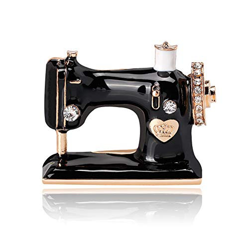 Broche de esmalte para máquina de coser, broche de cristal con diamantes de imitación, accesorio para ropa