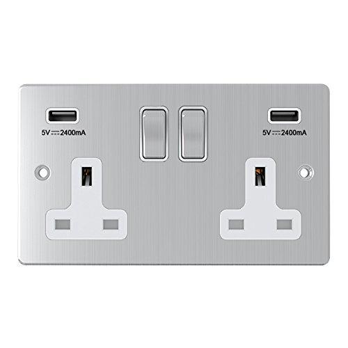 AET USBFSC2GSOCWC Britse stopcontacten, 13 A, dubbele breedte, satijn-chroom, plat, dubbel stopcontact met dubbele USB-stopcontact, witte inzetstukken, metalen tuimelschakelaar
