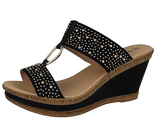 Cushion Walk Damen-Sandalen, Leder, gefüttert, Peep-Toe, mittlerer Keilabsatz, Slipper, Größe 36-42, Schwarz - Schwarze Nieten - Größe: 37 EU