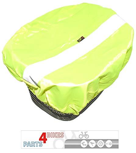 P4B Fahrradkorbabdeckung Vorderradkorb Regenschutz REFLEX Neongelb Wasserabweisend mit Reflexstreifen