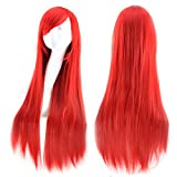 AKStore Wigs 32' 80cm Long Straight Anime Fashion Women's Cosplay Wig Party Wig With Free Wig Cap(Red)
