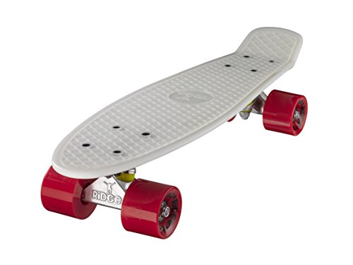 Ridge Glow In The Dark Retro Style Skateboard complet avec ABEC-7 roulements Blanc/Rouge - 56 cm