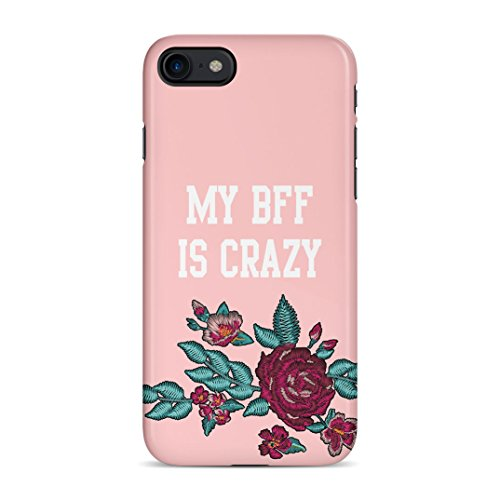 Best Friends Forever My BFF is Crazy Matching Case Gift For Best Friend Girlfriend Embroidery Rose Print Protective Hard Plastic Case Cover For...