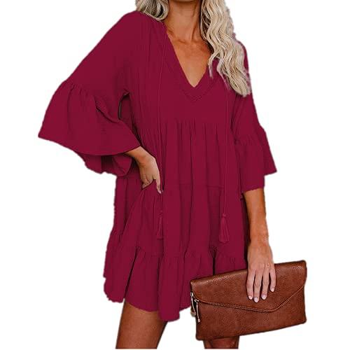 Primavera y Verano Vestido con Volantes y Costuras con Cuello en V para Mujer Vestido Informal de Color Puro para Vacaciones Vino Rojo M