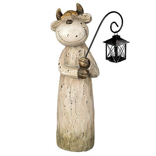 Formano Dekofigur Kuh mit Laterne aus Magnesia, Höhe: 54 cm, Creme-Braun, 1 Stück