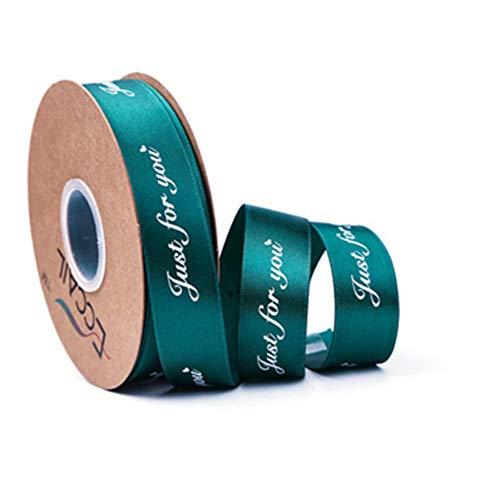 DAHI 2.5cm Satinband edel ca. 45 Meter Dekoband - Schleifenband Deko Geschenkband (grün)