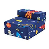 Ready Steady Bed Children Kids Fold Out Sleepover Z Bed Sofa | Toddler Single Folding Chair | Great for Playroom Bedroom Living Room | Lightweight & Comfy (Space Boy)