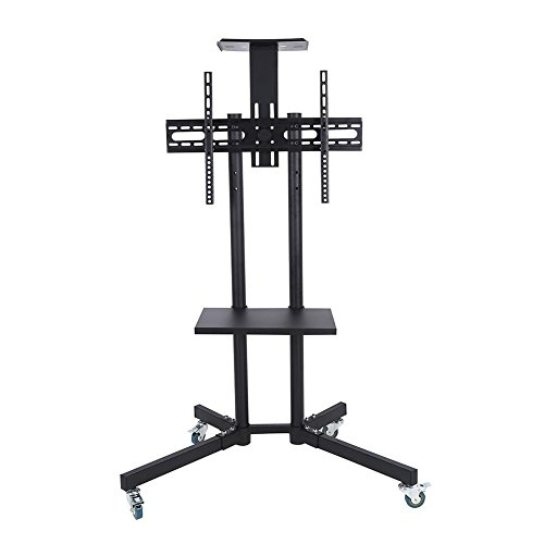 Mobile TV Cart Floor Stand Rolling Movable Swivel Floor TV Stand for Most 32'-65' Flat Curved TVs Cart Trolley with Bracket,Castors and Tray Tilting Adjustable(with top shelf)