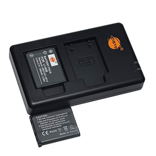 Batería recargable LI-40B LI-42B (2 unidades) y cargador dual compatible con cámaras Fuji NP-45, Olympus D-630 720 725 IR-300 FE-150 160 190 220 230 Stylus 700 TG-310 X, etc.