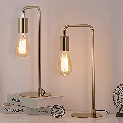 Edison Table Lamp, Industrial Desk Lamps Set of 2, Small Gold Metal Lamp Suit for Bedside Nighstand Dressers Coffee Table Study Desk in Bedroom, Guest Room