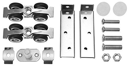 Schiebetür Beschlag für 25mm Laufprofil Laufrollen Holztür Schiebetürbeschlag 4 oder 8 Rollen Laufrollen (Modell: 4 Rollen)