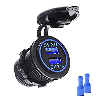 MICTUNING Dual USB Charger 4.2A with Blue Light Compatible for Cell Phone Tabet GPS for Car Boat Motorcycle Marine